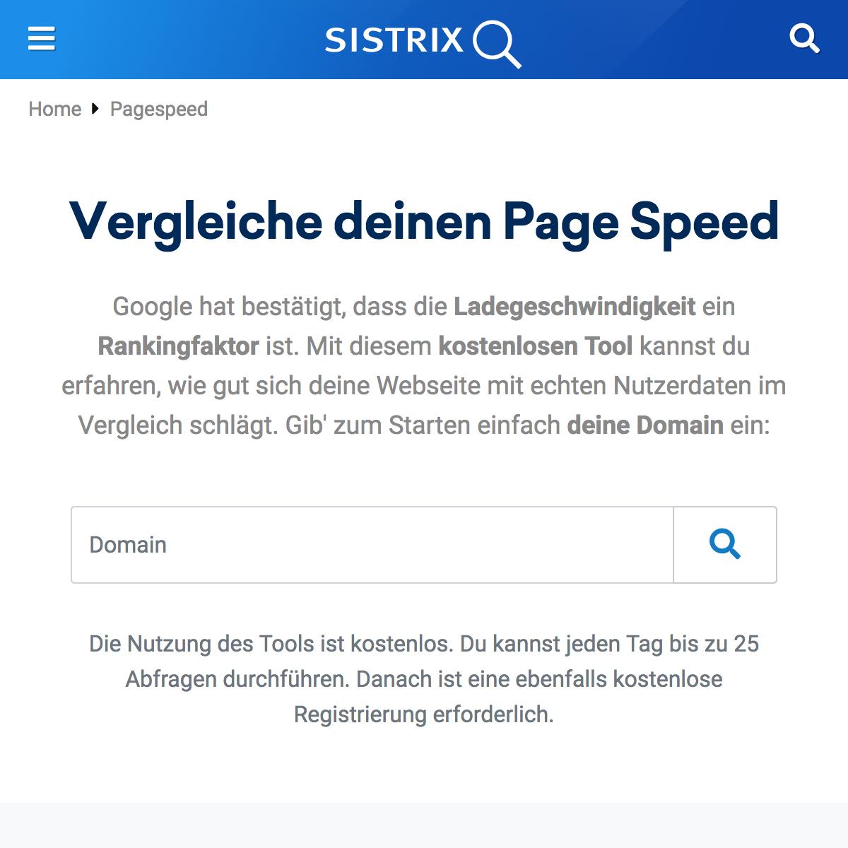 SISTRIX PageSpeed App