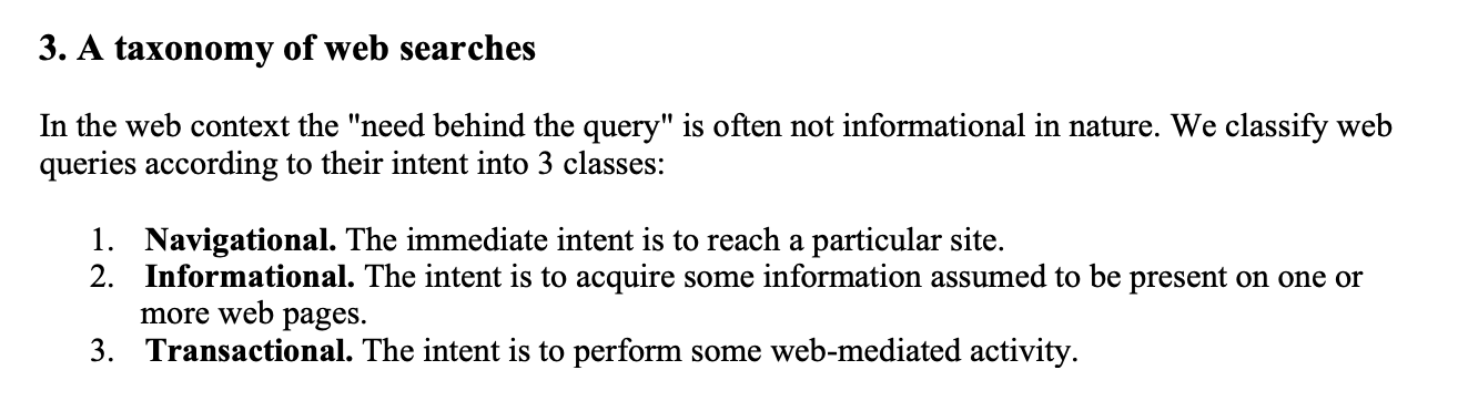 A taxonomy of web searches. 3 classes of queries