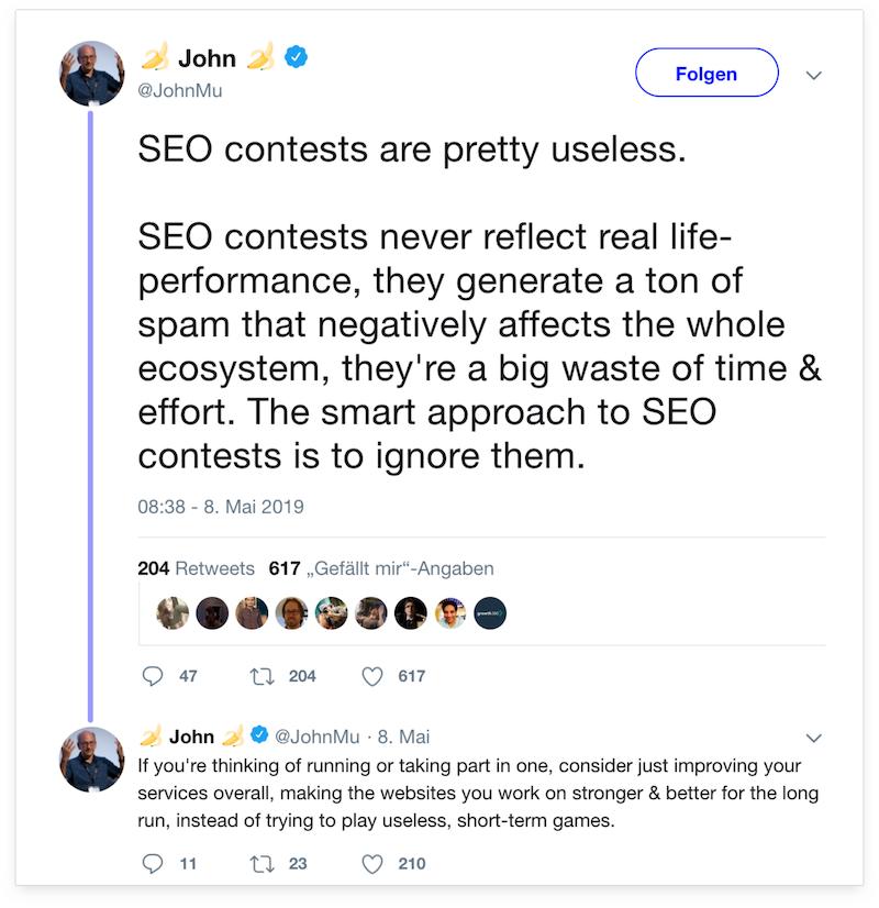 Tweet von John Müller in dem er SEO-Wettbewerbe als Zeitverschwendung kritisiert.