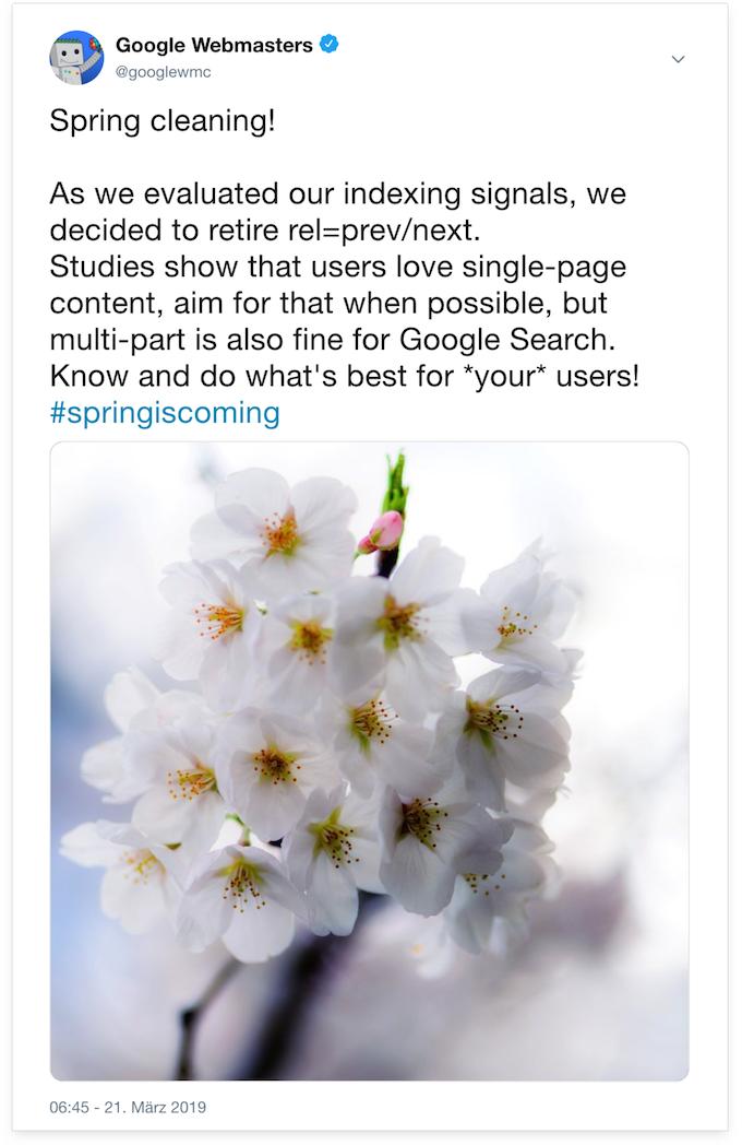 """Tweet von dem """"Google Webmasters"""" Twitter-Account in dem mitgeteilt wird, dass rel=prev/next nicht mehr unterstütz werden."""