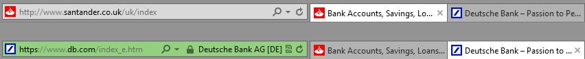 Screenshot mit zwei Browserzeilen, oben die der Santander Bank, ohne SSL-Zertifikat, und darunter für die Deutsche Bank, mit SSL-Zertifikat. Die Zeile für die Deutsche Bank ist grün hinterlegt.