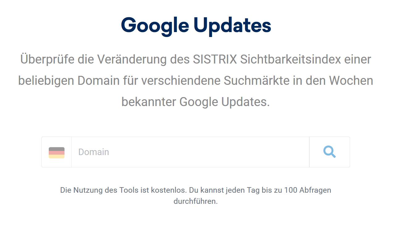 Screenshots des Google-Update Checklist Tool