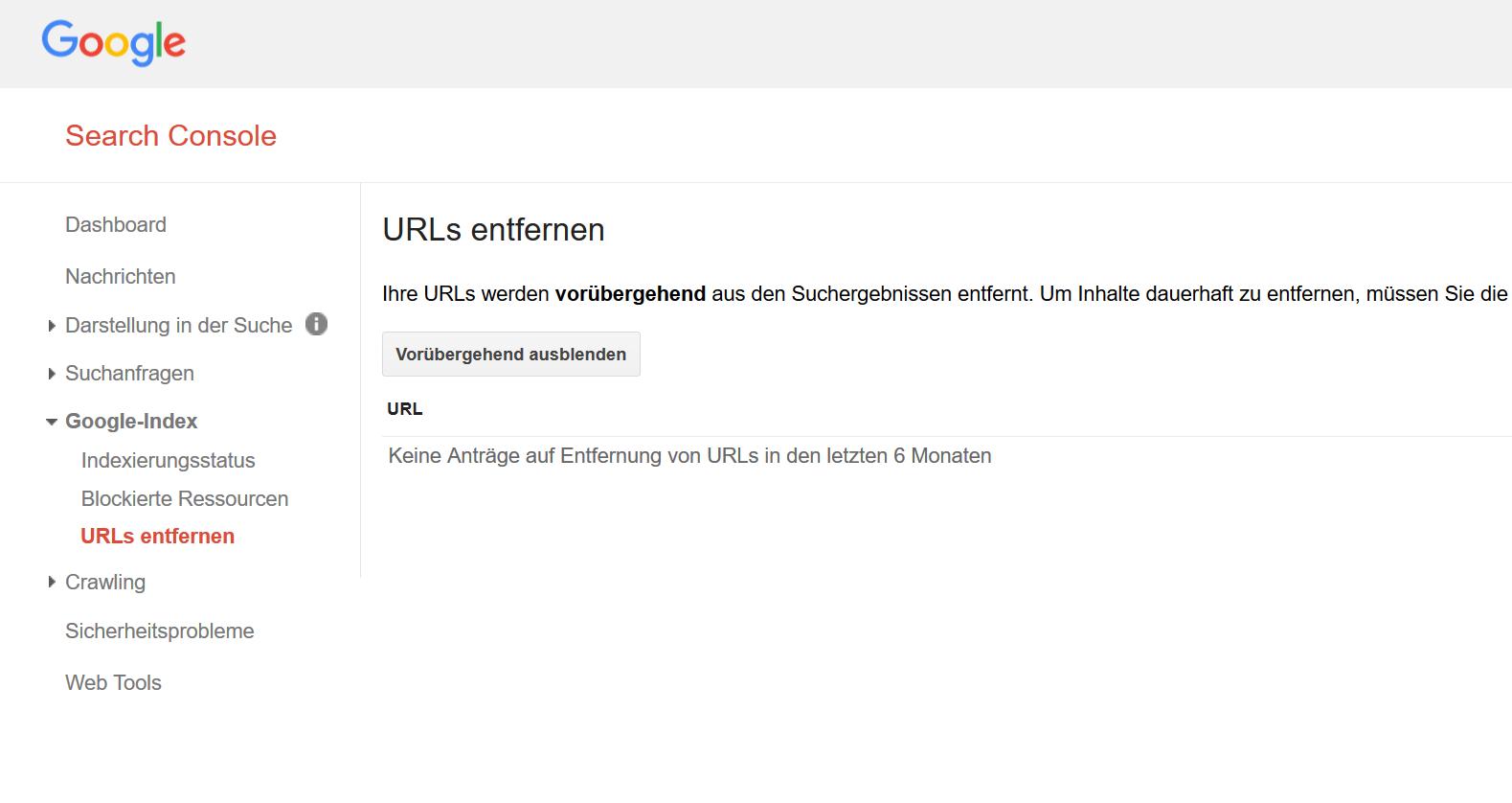 """Ansicht des """"URLs entfernen"""" Tools in der Google Search Console."""
