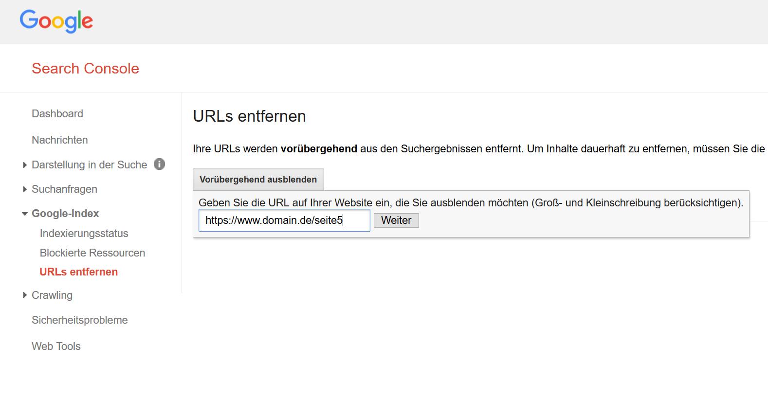 """Eingabe einer URL im """"URLs entfernen"""" Tool innerhalb der Google Search Console."""