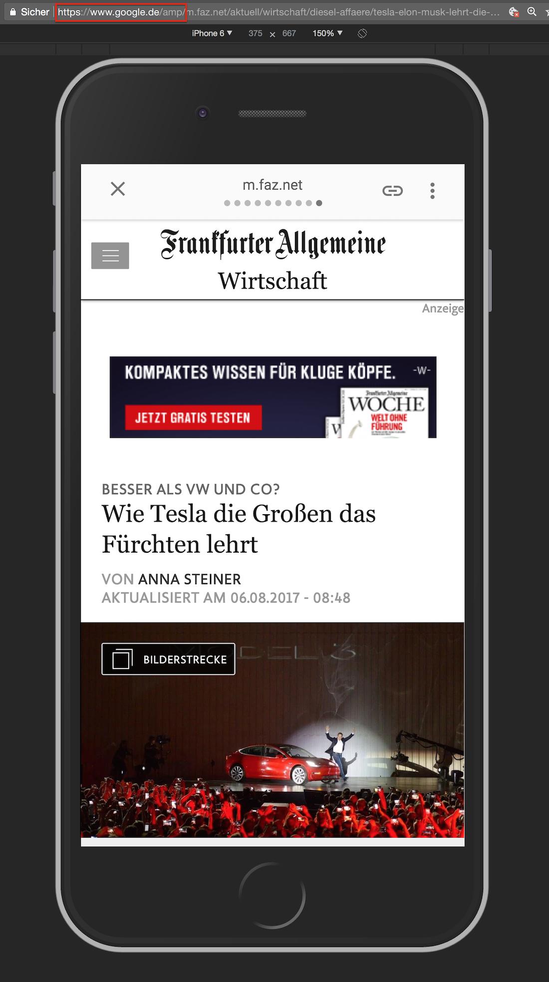 Mobiel Screenshot der FAZ auf der URL www.google.de/amp/...