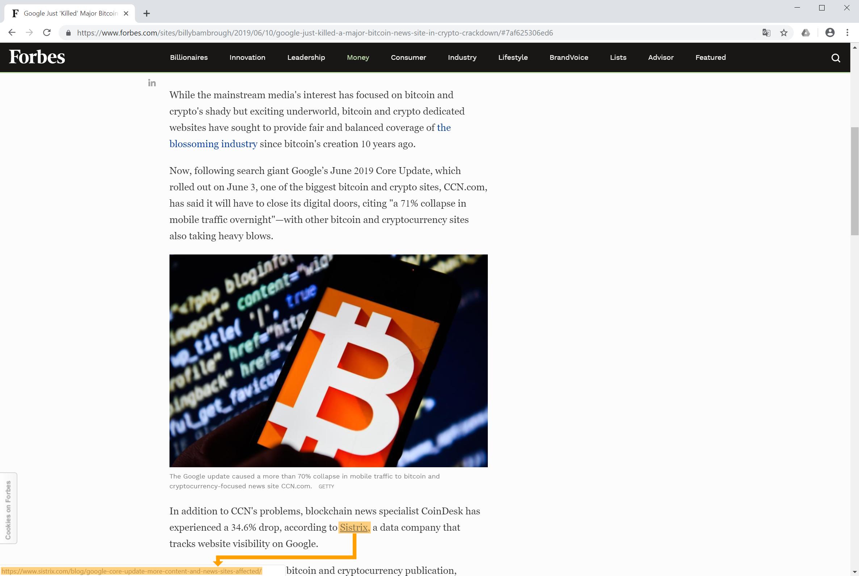 Backlink auf sistrix.com vom Forbes Magazine