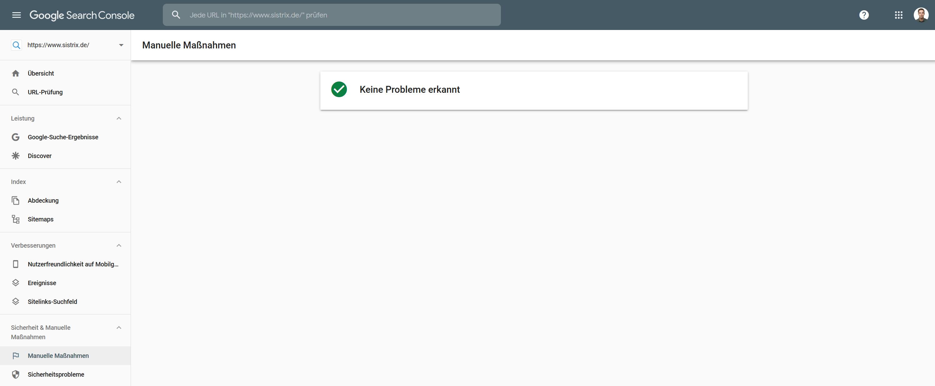 """Auszug aus der Google Search Console im Menüpunkt """"Manuelle Maßnahmen"""" für eine Domain bei der keine Probleme erkannt wurden."""