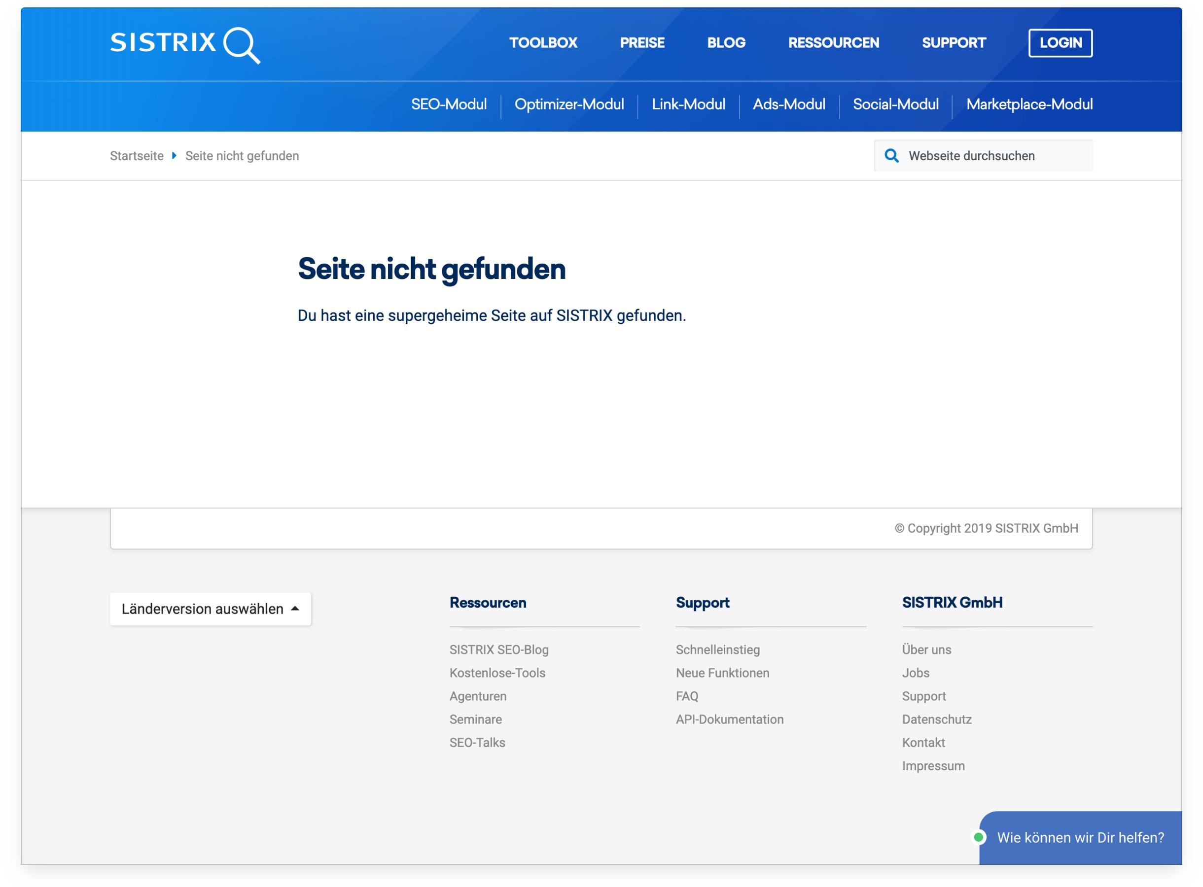"""Ansicht der """"Seite nicht gefunden"""" Seite auf sistrix.de."""