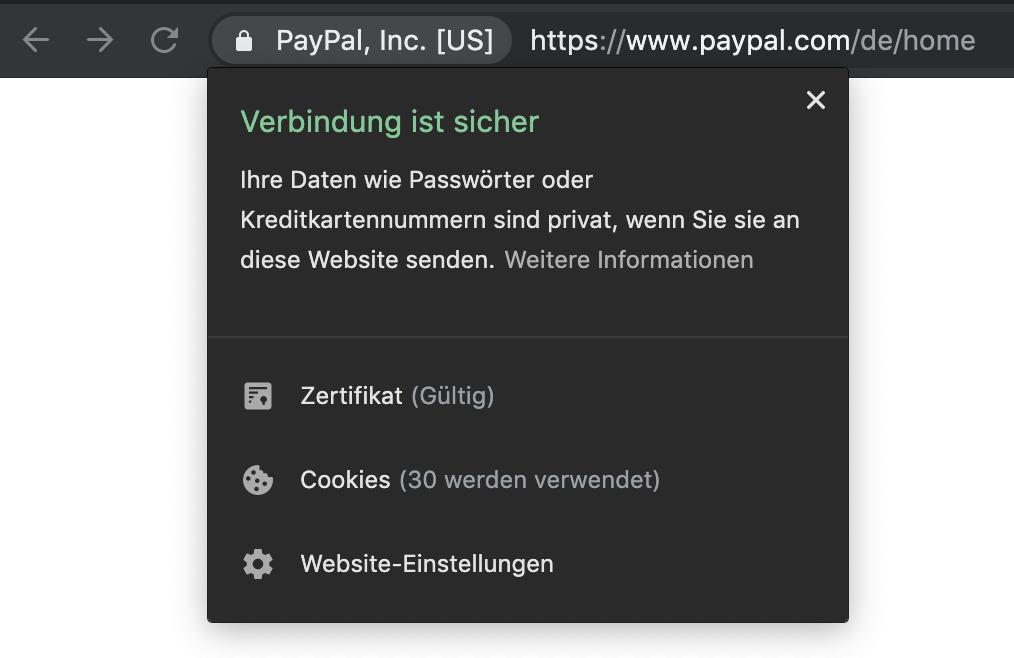 Zeigt das SSL-Zertifikat für die Seite Paypal.com im Chrome Browser an.