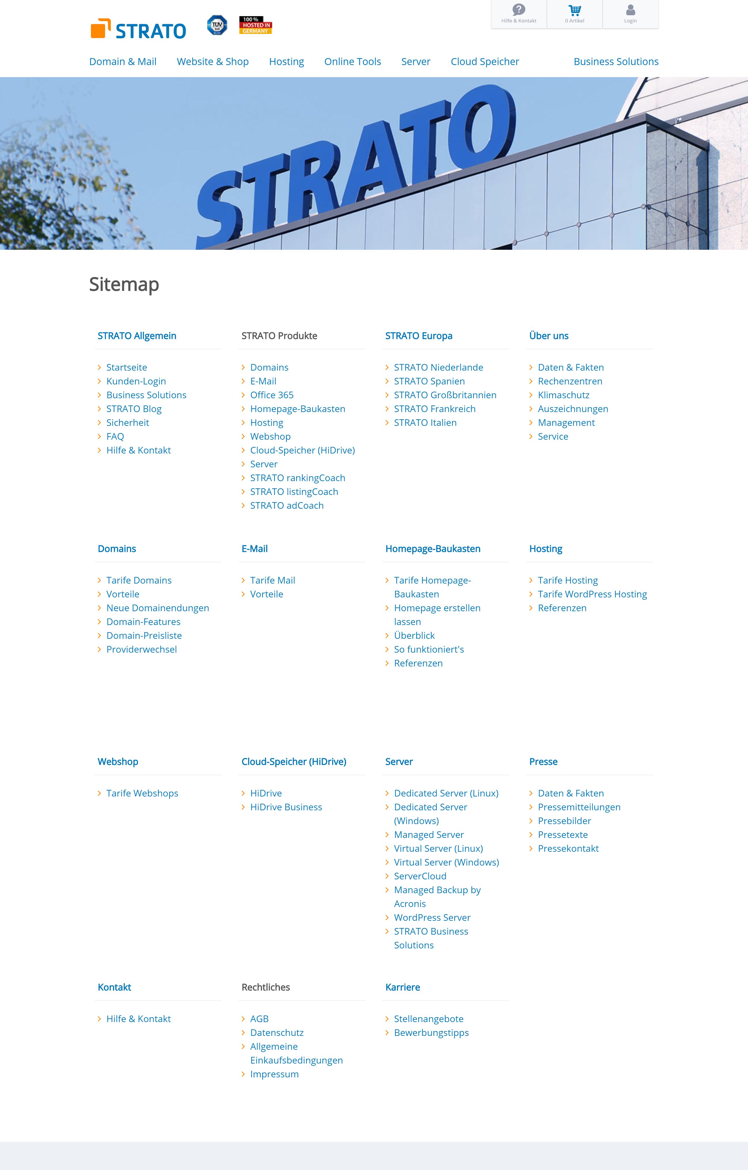 HTML-Sitemap auf Strato.de.