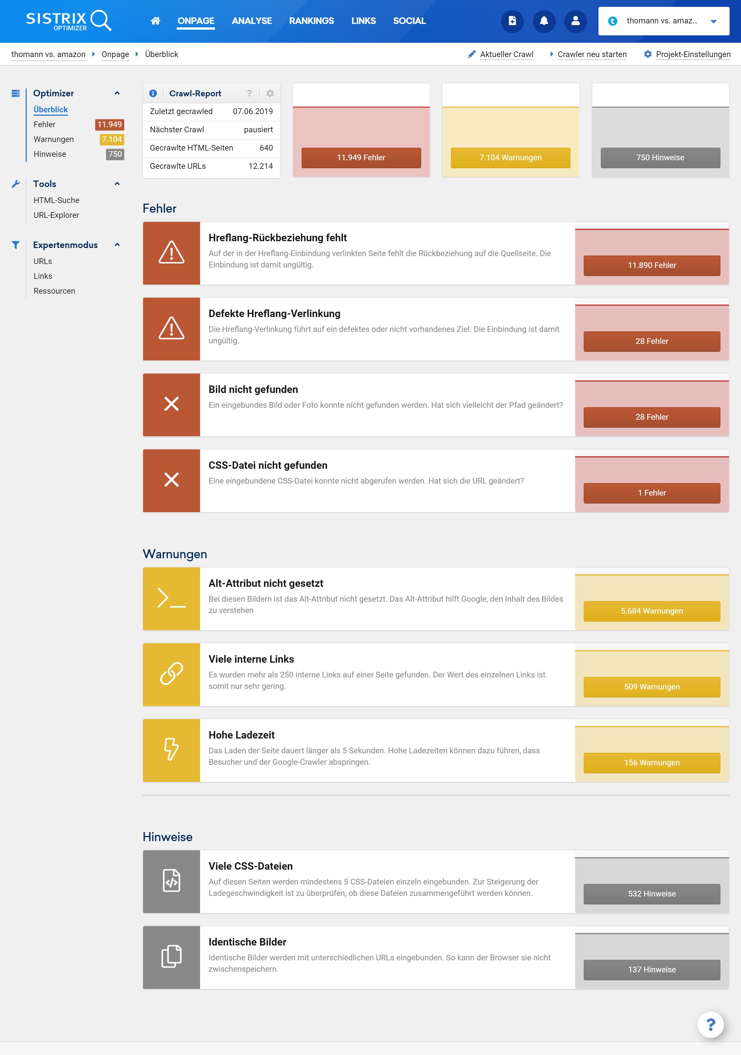 Überblickseite eines Projektes im SISTRIX Optimizer mit gefundenen Fehlern, Warnungen und Hinweisen.