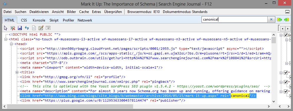 Auszug des Quelltextes des Artikels auf dem Search Engine Journal. Dort ist das rel=canonical, dass auf den Original-Account gesetzt wurde, zu sehen.