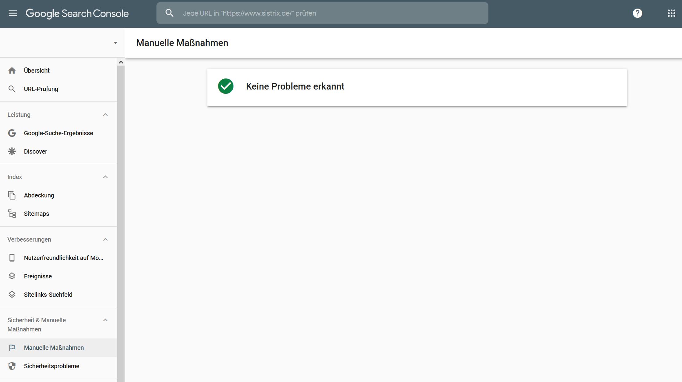 """Screenshot aus der Google Search Console im Navigationsunterpunkt """"Manuelle Maßnahmen"""". Bei dieser Webseite wurden keine Probleme erkannt."""