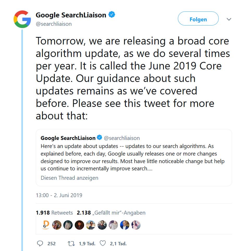 Tweet von Google SearchLiaison
