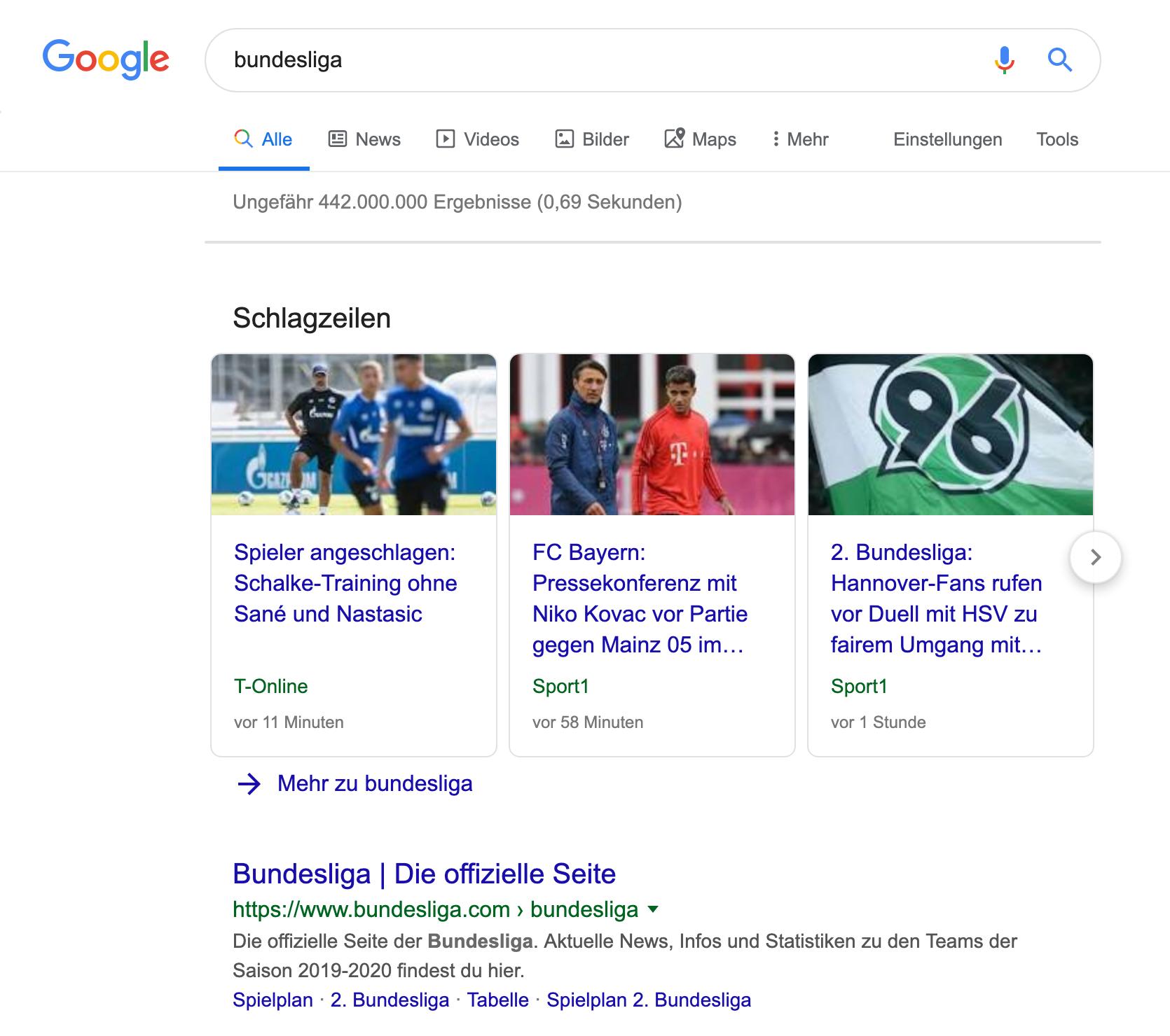 """Bild einer Goolge-Desktop-Suche nach """"Bundesliga"""". Das erste organische Ergebnis ist die """"Schlagzeilen"""" Box mit drei News-Beiträgen."""