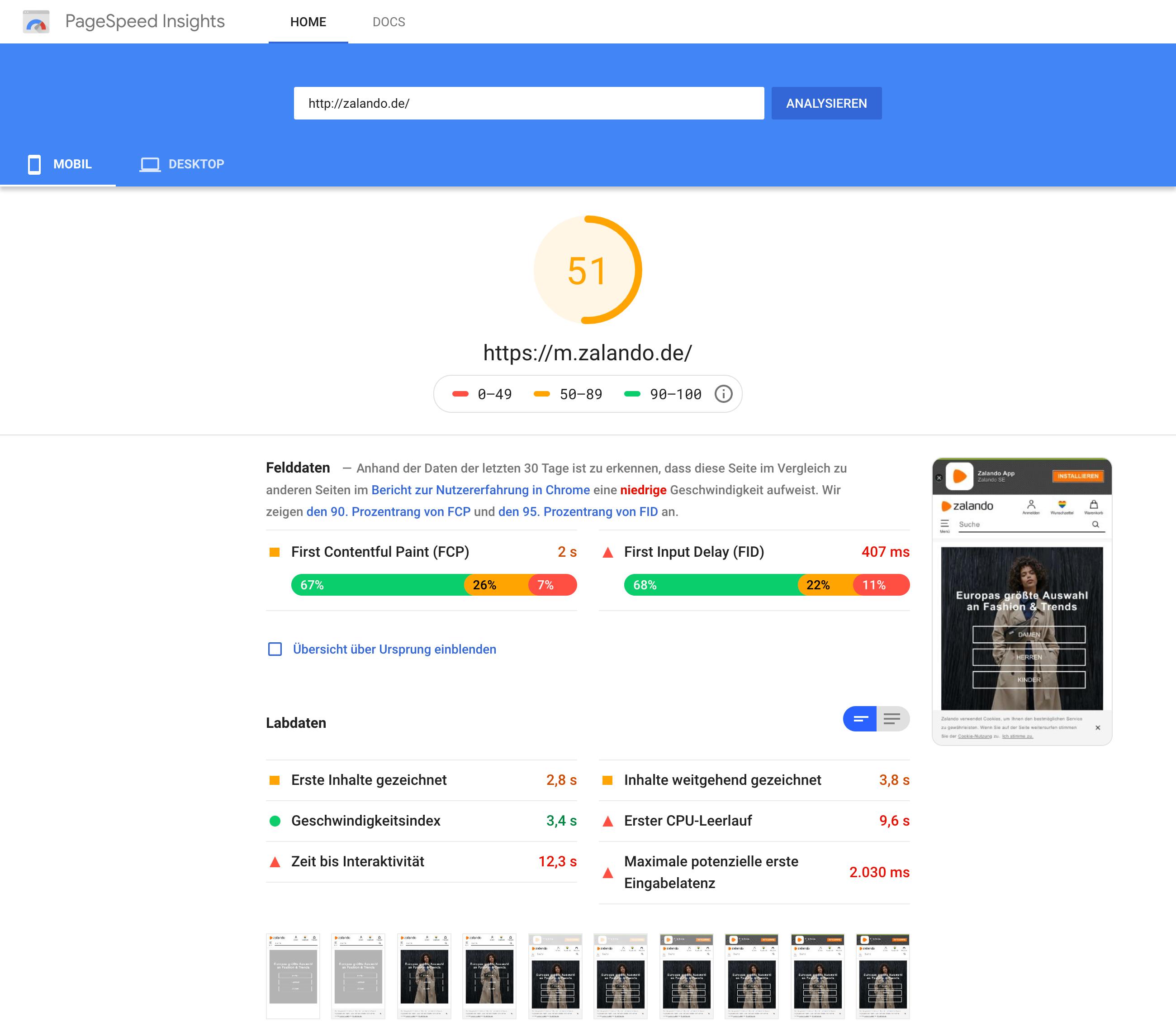 Screenshot aus den Google PageSpeed Insights für zalando.de. Es ist eine Zusammenfassende Wertung zu sehen und darunter eine Einordnung sowie Ladedaten.