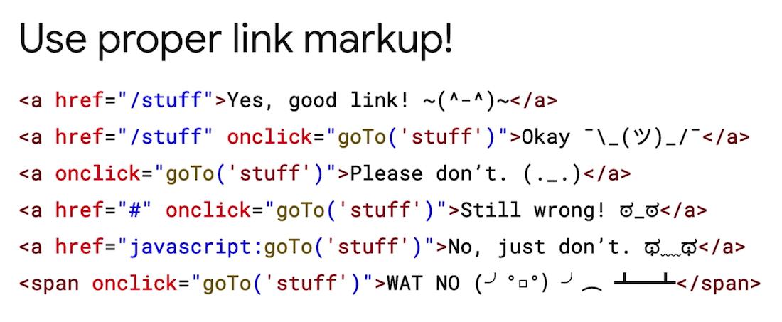 Google zeigt welche Links korrekt erkannt werden. Das geschieht nur bei einem a-Element mit einem href-Attribut in dem eine absolute oder relative URL vermerkt ist.