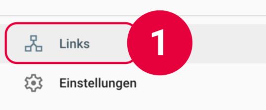 "Navigationspunkt ""Links"" in der linken Navigationsleiste der Google Search Console."