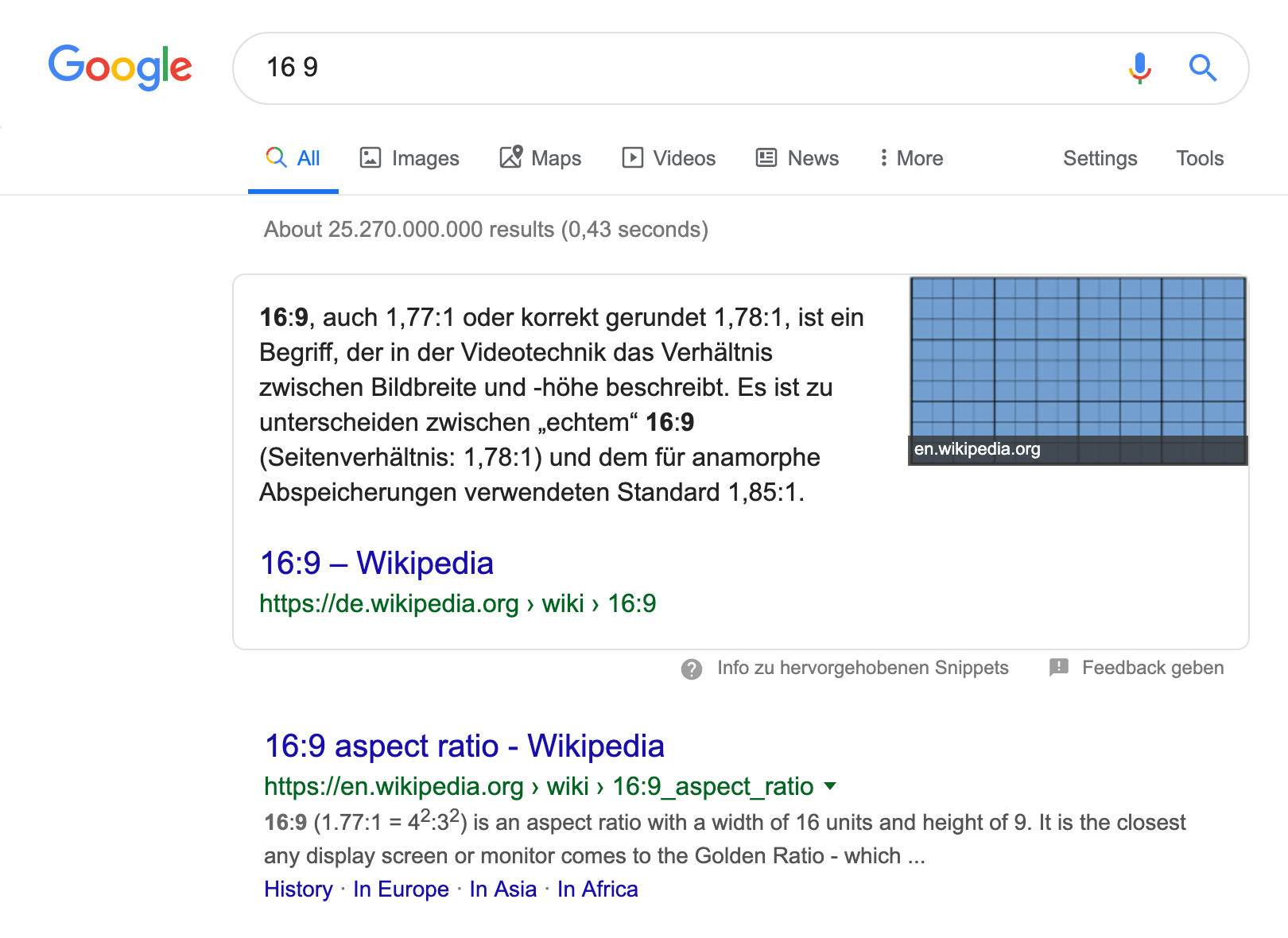 """Suchergebnisseite für die Suchanfrage """"16 zu 9"""". Als erstes wird ein Featured Snippet Kasten angezeigt in dem, neben dem Text, auch ein Bild angzeigt wird."""