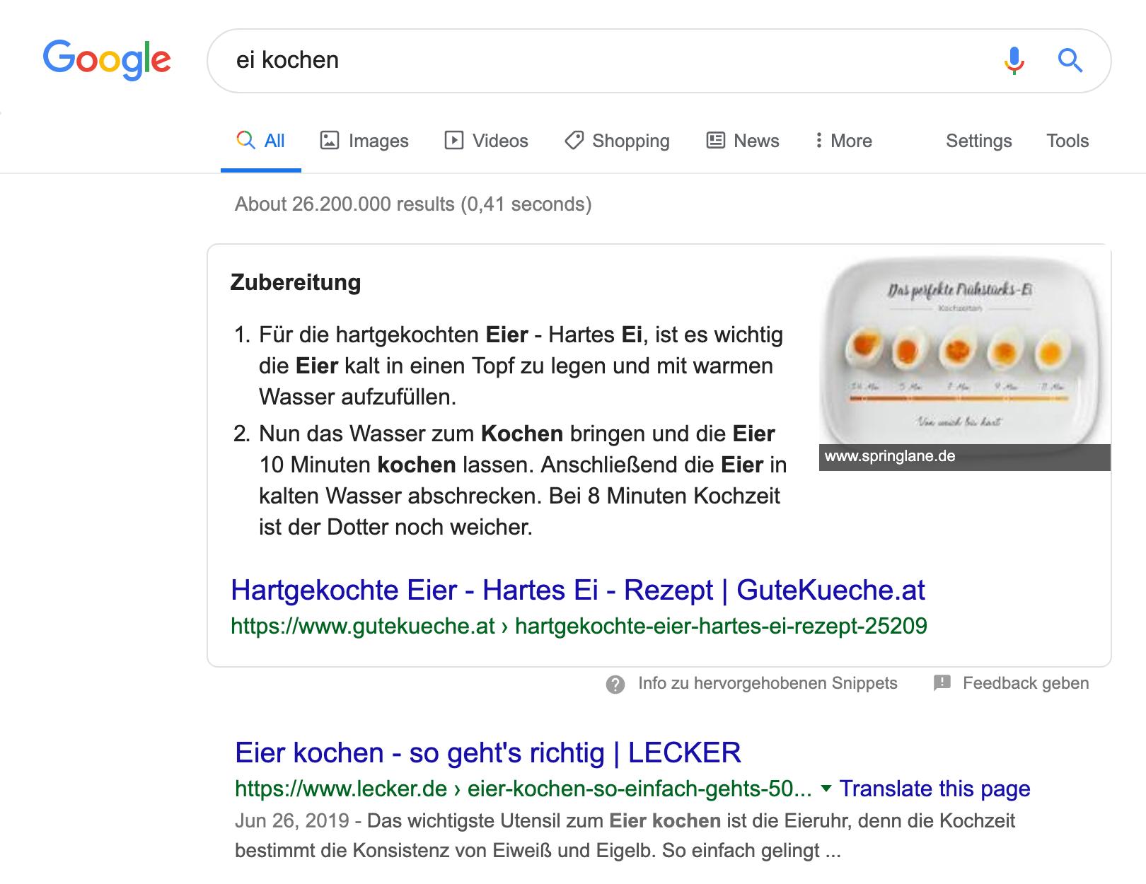 """Suchergebnisseite für die Suchanfrage """"ei kochen"""". Als erstes wird ein Featured Snippet Kasten angezeigt in dem ein eine Auflistung steht."""