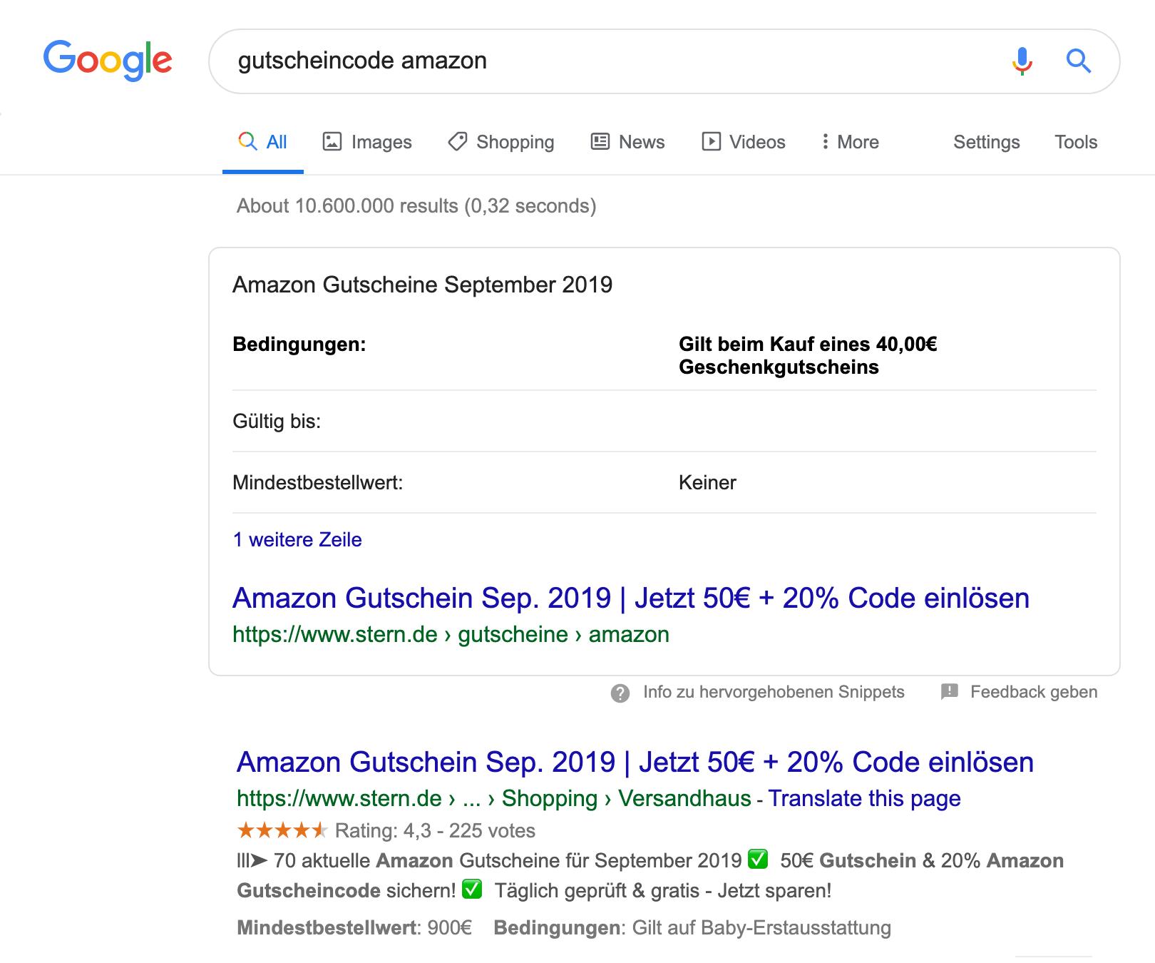 """Suchergebnisseite für die Suchanfrage """"gutscheincode amazon"""". Als erstes wird ein Featured Snippet Kasten angezeigt in dem eine Tabelle abgedruckt ist."""