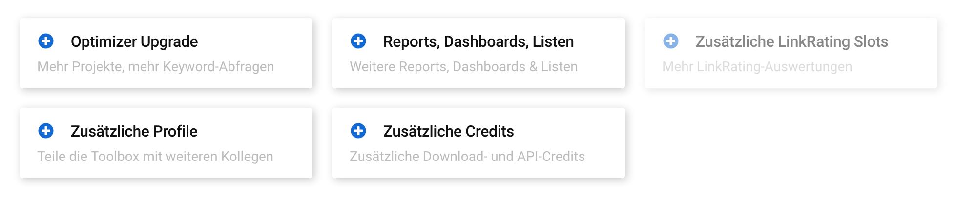 """Upgrade-Möglichkeiten in der Modulauswahl der SISTRIX Toolbox. Es gibt folgende Optionen: """"Optimizer Upgrade"""", """"Reports, Dashboards, Listen"""", """"Zusätzliche LinkRating Slots"""", """"Zusätzliche Profile"""" und """"Zusätzliche Credits""""."""