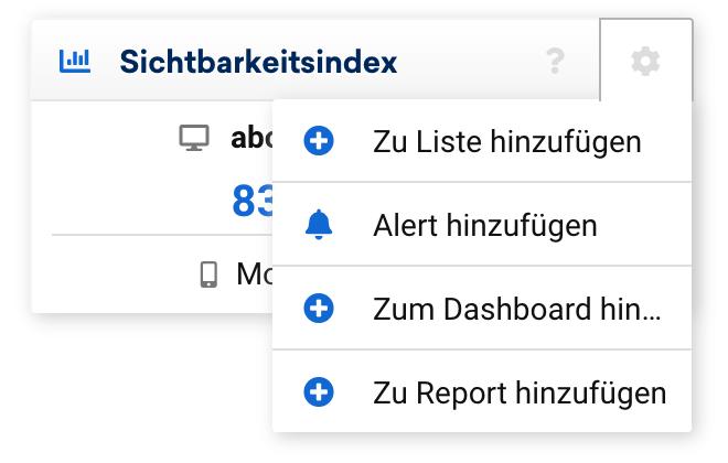 Sichtbarkeitsindex Datenbox mit ausgefahrenem Optionsfeld, oben rechts. Die Box lässt sich zu einer Liste, einem Alert, einem Dashboard oder einem Report hinzufügen.