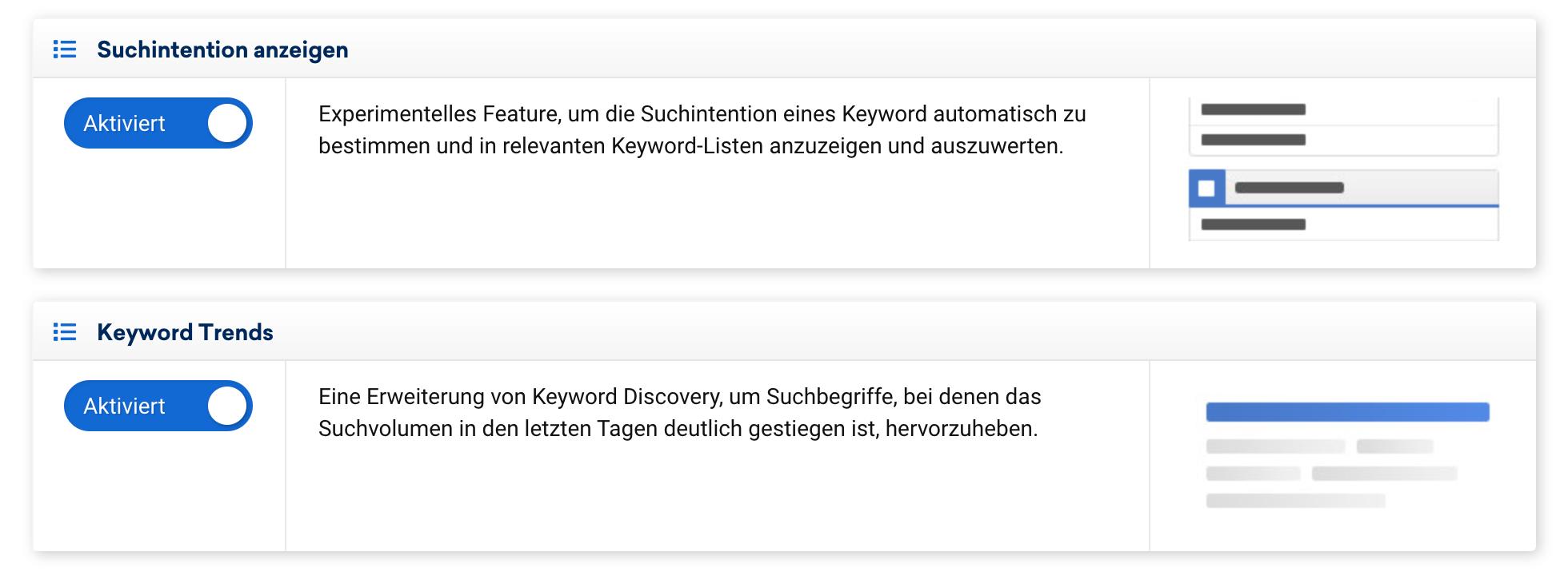 Ansicht von zwei SISTRIX Labs Features. Zu sehen ist eine kurze Beschreibung was das Feature macht sowie der Schalter um dieses Feature an und auch wieder aus zu schalten.