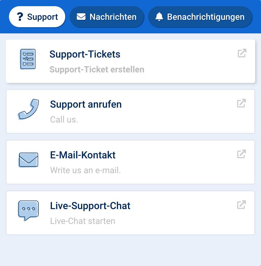 Supportmöglichkeiten in der SISTRIX Toolbox, nach einem Klick auf das blaue Fragezeichen am unteren rechten Rand einer jeden Seite der Toolbox. Zu sehen sind die verschiedenen Support Kontaktmöglichkeiten, sowie weitere Tabs für Nachrichten und Benachrichtigungen.