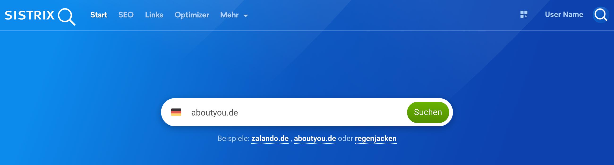 Startseite der Toolbox mit dem Suchfeld in der Mitte. Dort ist die Domain aboutyou.de eingegeben.