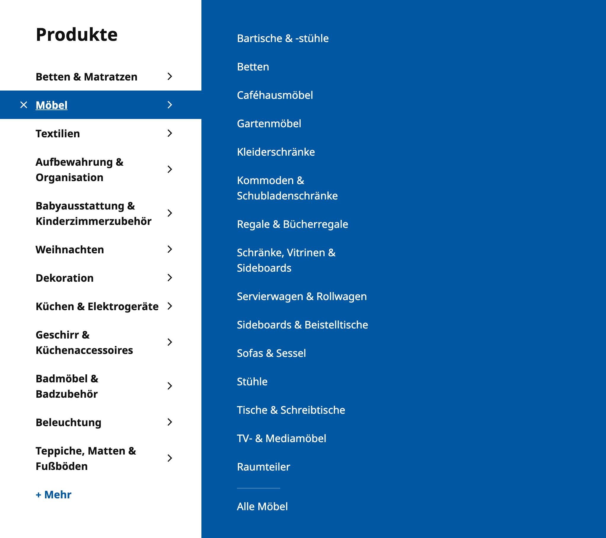 """Navigationsmenü auf ikea.com für Deutschland. Im Obermenü """"Möble"""" gibt es verschiedene Unterkategorien. Mehrere davon haben etwas mit Schränken zu tun: """"Kleiderschränke"""", """"Kommoden & Schubladenschränke"""" und """"Schränke, Vitrinen & Sideboards""""."""