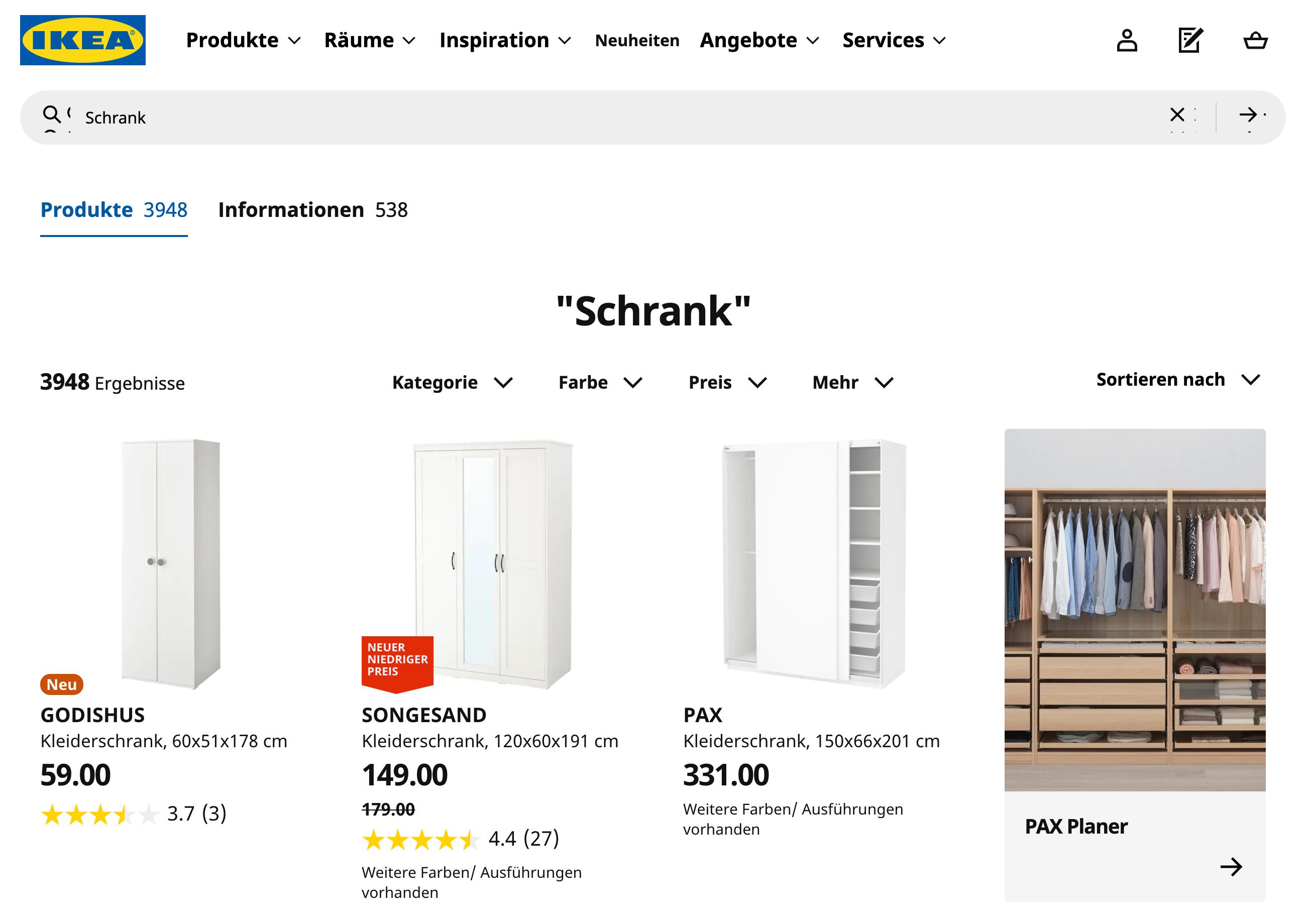 """Interen Suchergebnisse auf ikea.com für Deutschland und die Suche nach """"Schrank"""". Es werden 3948 Ergebnisse gefunden."""