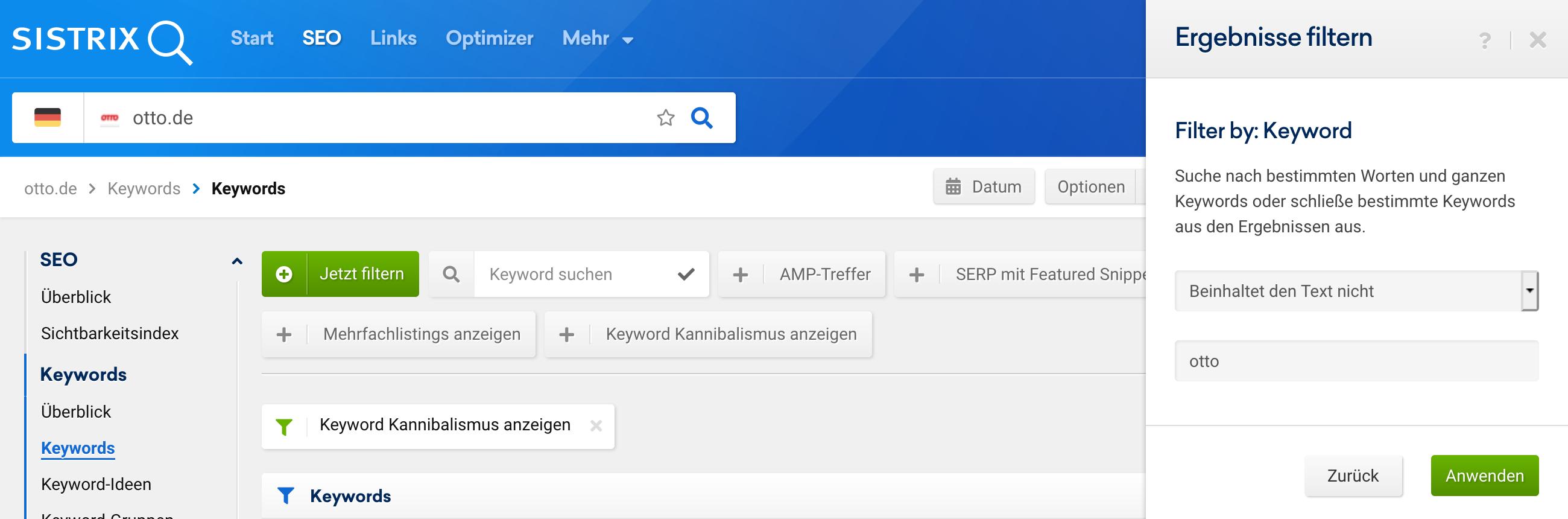 """Ansicht der """"Keywords""""-Funktion im SEO-Modul. Geöffnet ist das """"Ergebnisse filtern"""" Dialogmenü mit einem Filter für """"Keyword"""" bei dem die Ergebnissemenge mit dem Filter """"Beinhaltet den Text nicht: otto"""" eingeschränkt werden soll um den Brandnamen auszuschließen."""