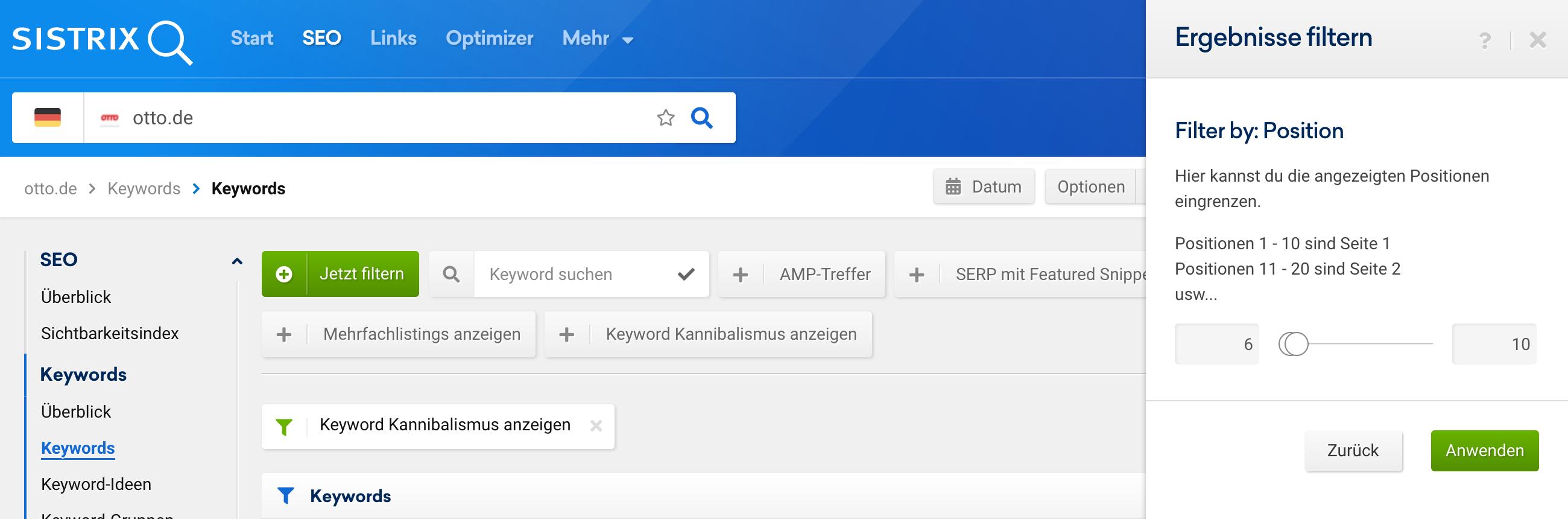 """Ansicht der """"Keywords""""-Funktion im SEO-Modul. Geöffnet ist das """"Ergebnisse filtern"""" Dialogmenü mit einem Filter für """"Position"""" über den die Positionen zwischen 6 und 10 gefiltert werden sollen."""