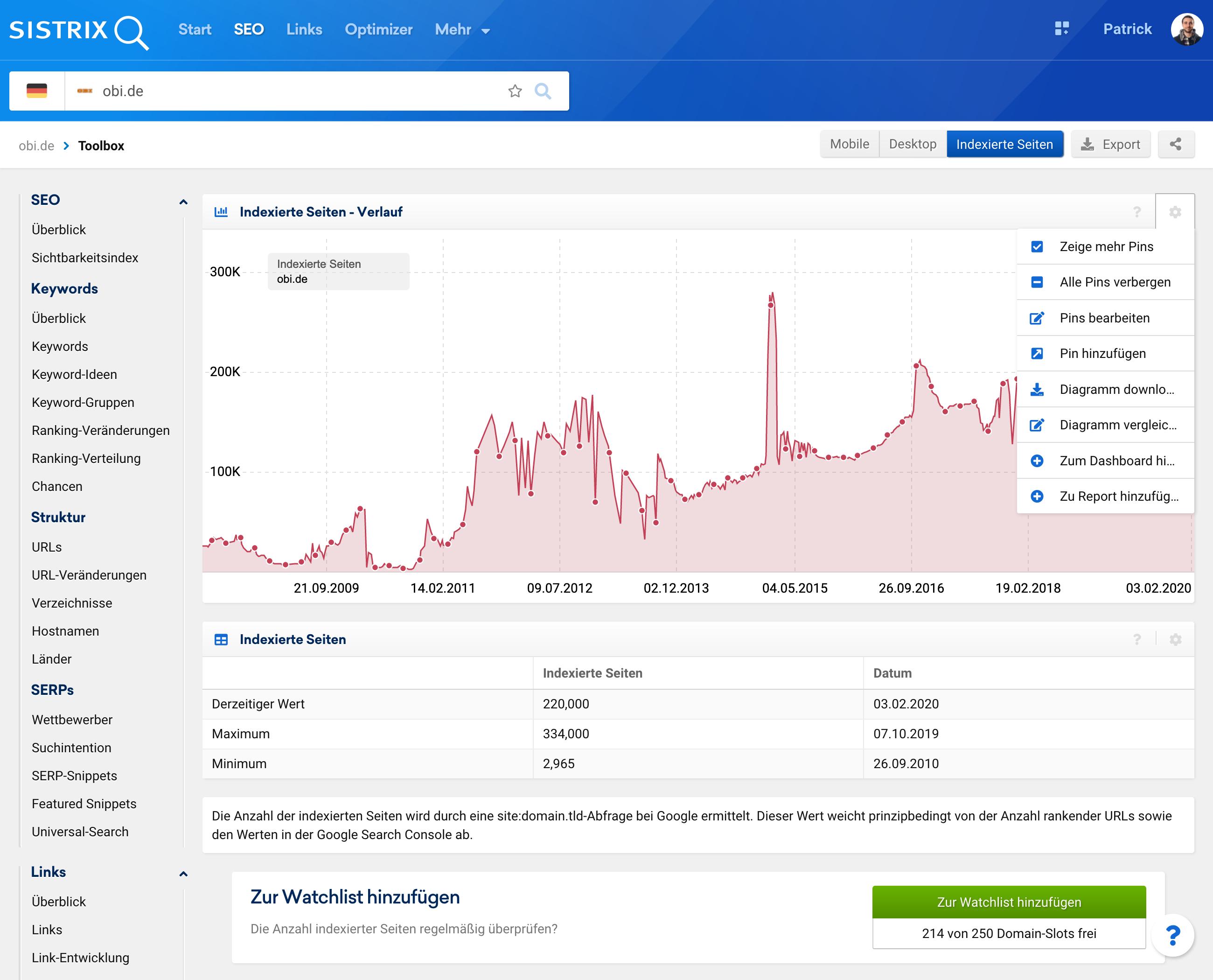 Ansicht der Seite zu den Indexierten Seiten in der SISTRIX Toolbox. Es wird das Menü im Verlauf der indexierten Seiten gezeigt.