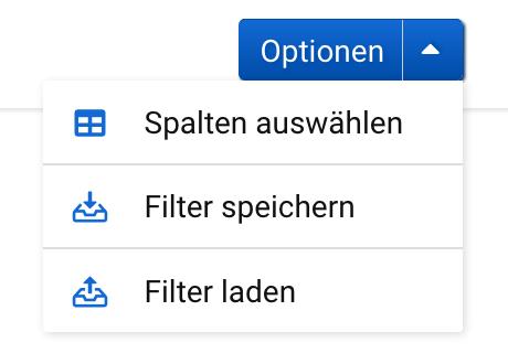 """Optionen-Box auf der URL-Unterseite der SISTRIX Toolbox. Die Auswahlmöglichkeiten sind """"Spalten auswählen"""", """"Filter speichern"""" und """"Filter laden""""."""