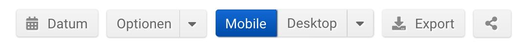 """Optionsleiste im Unterpunkt """"URLs"""" der SISTRIX Toolbox. Zu sehen sind die Buttons """"Datum"""", """"Optionen"""", """"Mobile/Desktop"""", """"Export"""" und """"Teilen""""."""