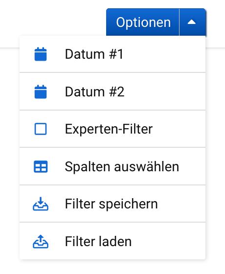 """Das Optionen-Menü im Unterpunkt """"URL-Veränderungen"""" hier lassen sich die beiden Datumspunkte festlegen, der Experten-Filter anschalten, die gewünschten Spalten auswählen sowie die eingestellten Filter speichern oder laden."""