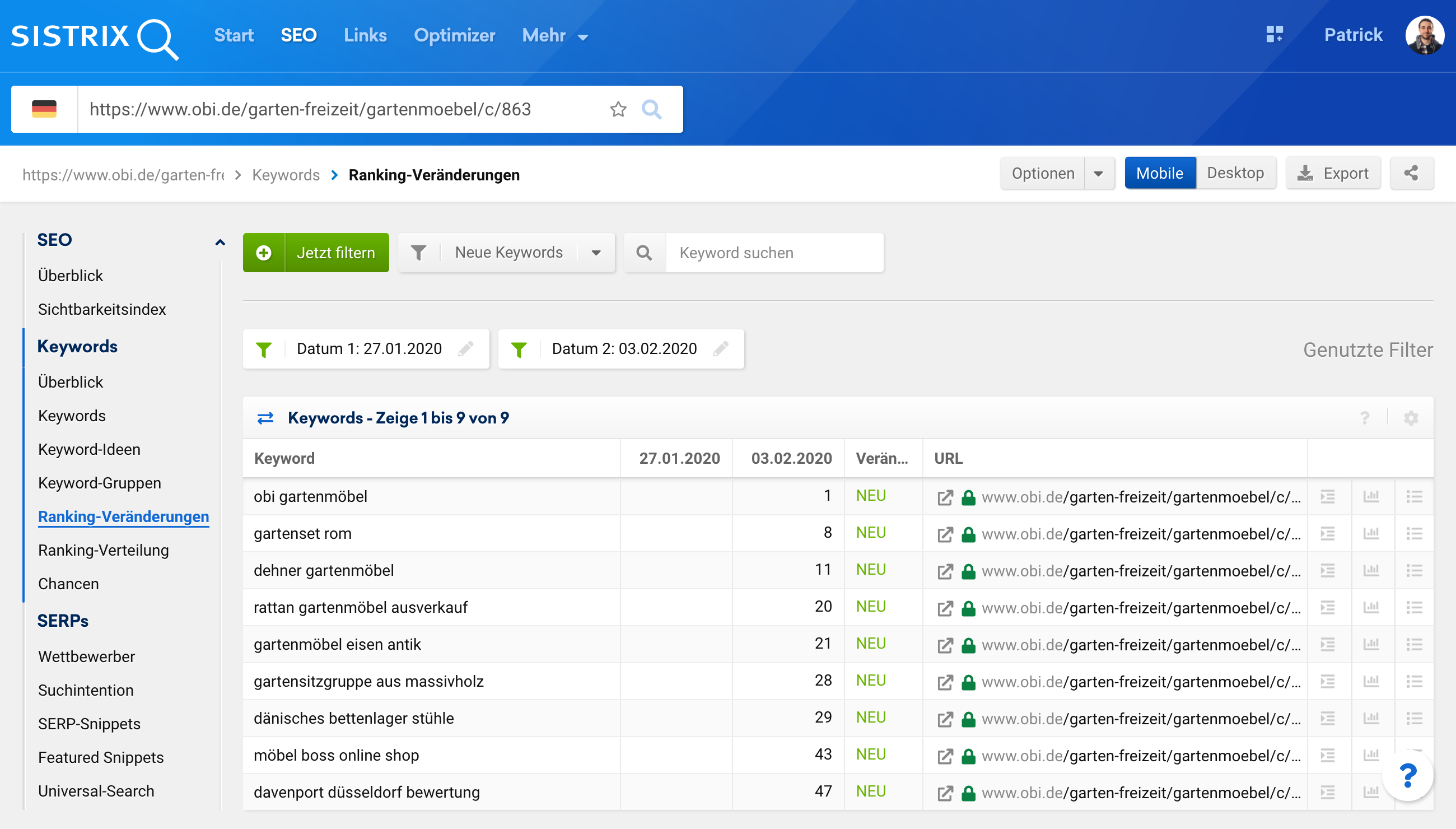Ansicht der Ranking-Veränderungen-Seite der Toolbox bei Eingabe einer einzelnen URL in die Suchleiste.