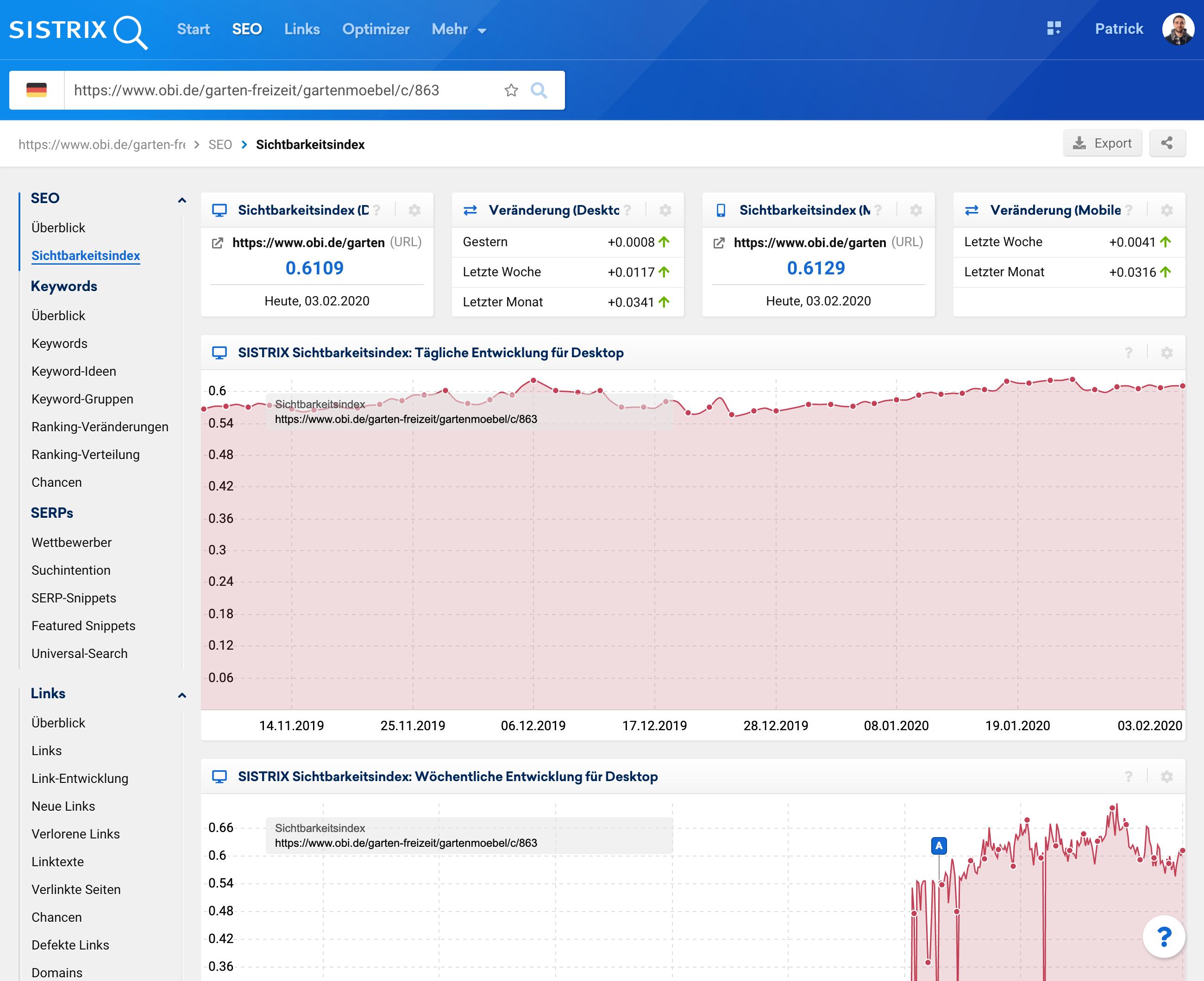 Ansicht der Sichtbarkeitsindex-Seite der Toolbox bei Eingabe einer einzelnen URL in die Suchleiste.