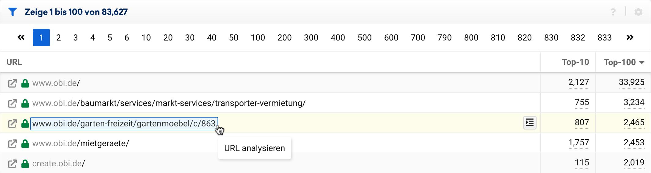 URL-Tabelle in der SISTRIX Toolbox. Gezeigt wird, wie mit der Maus über eine URL gefahren werden und dann der jeweilige Teil näher analysiert werden kann.