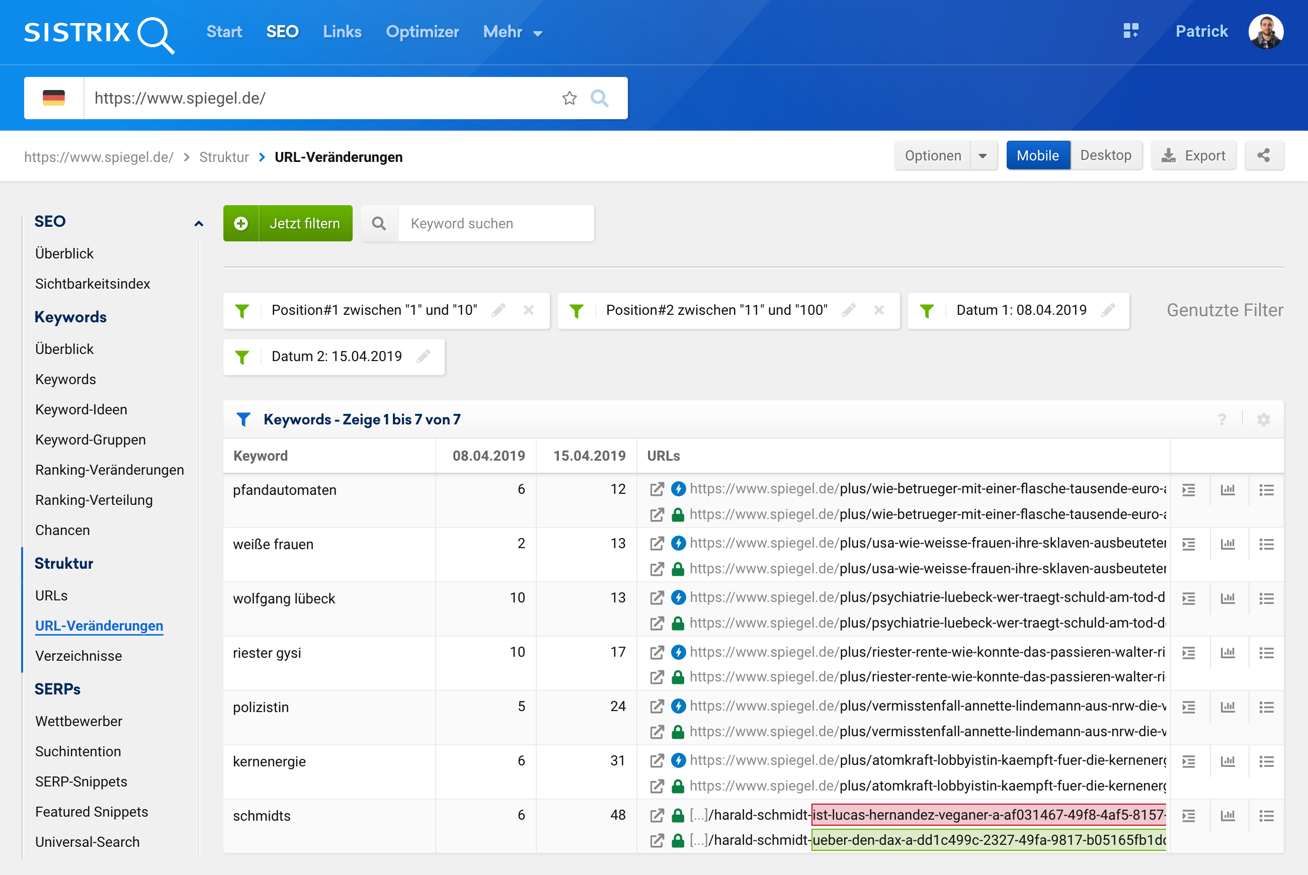 """Ansicht der URL-Veränderungen in der SISTRIX Toolbox für die Filter """"Position#1 zwischen 1 und 10"""", """"Position#2 zwischen 11 und 100"""" für die beiden Datenpunkte vom 08.01.2019 und den 15.04.2019."""