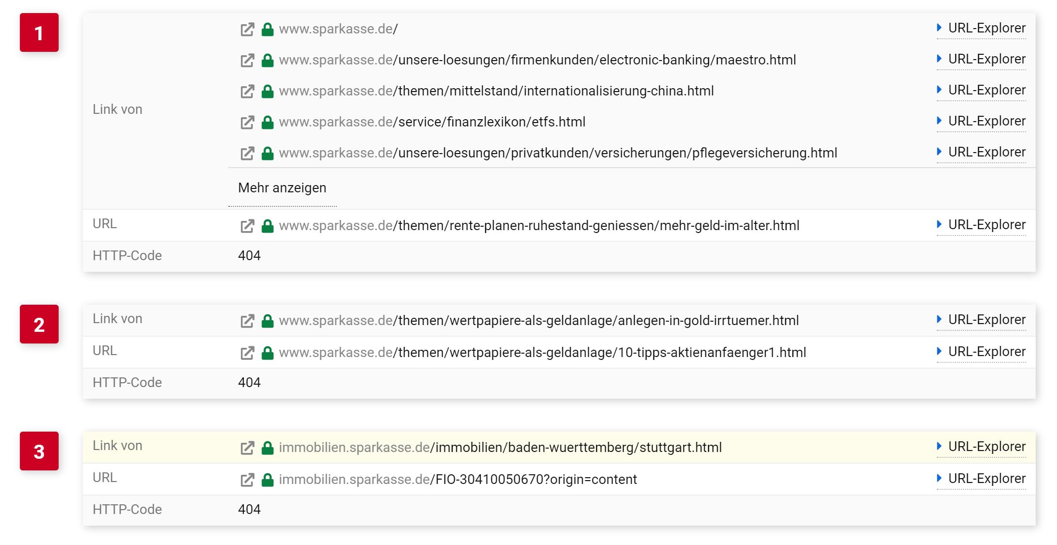 """Detailansicht des """"Seite nicht gefunden"""" Fehlers im SISTRIX Optimizer. Gezeigt wird, pro Fundstück, jeweils die URL auf der der Link zur 404 Seite gefunden wurde, die URL auf der der Status Code 404 erhalten wurde sowie der Status Code selbst."""