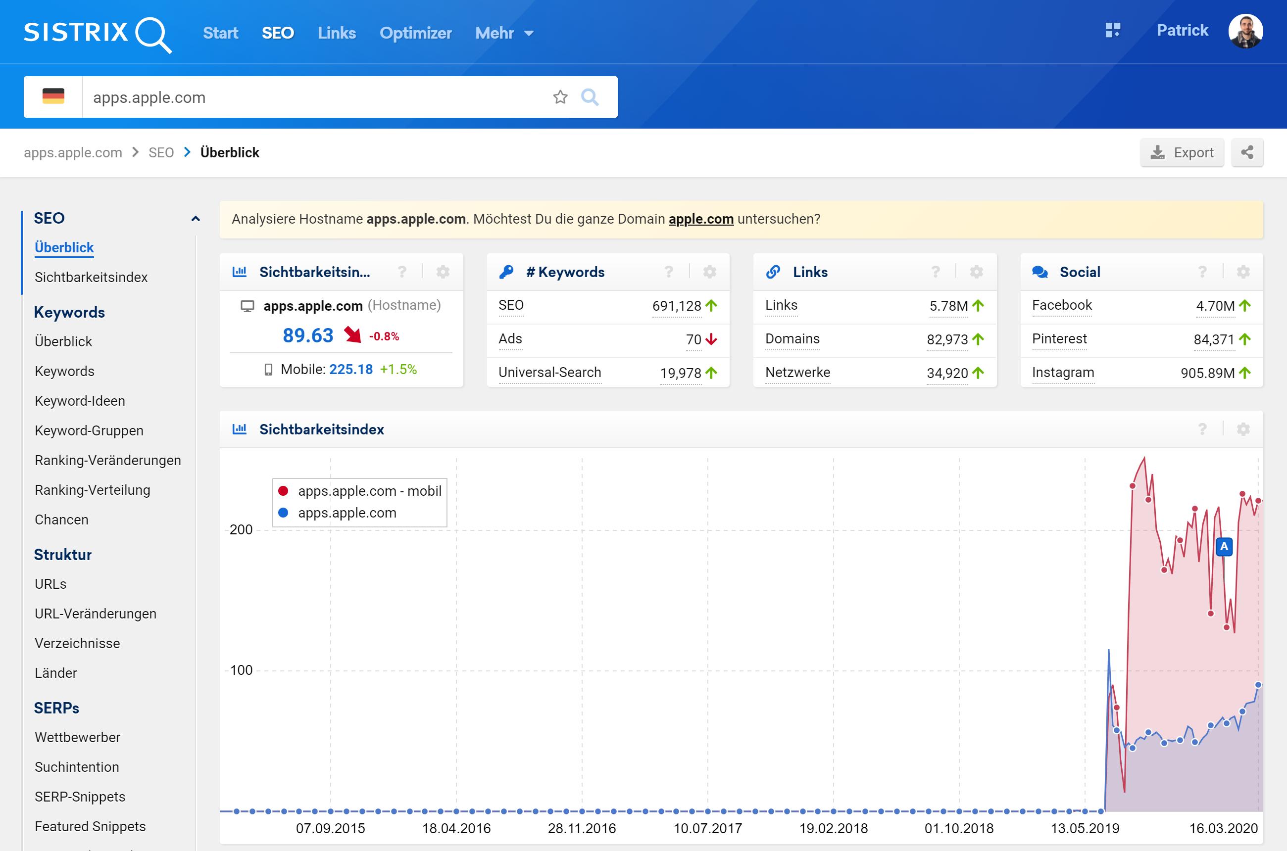 Überblickseite in der SISTRIX Toolbox, bei Eingabe eines Hosts in die Suchleiste. Alle gezeigten Informationen beziehen sich nur auf diesen Host und auch die linke Navigation ist auf die Daten dieses Hosts beschränkt.