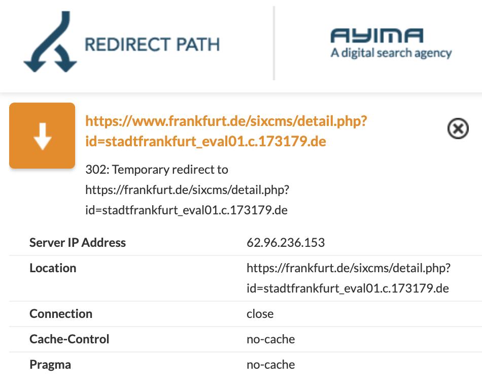 Auszug aus dem Browser Plugin Ayima Redirect Path. Es zeigt eine 302 Weiterleitung zwischen der www-Host- und der non-www-Host-Version einer URL.