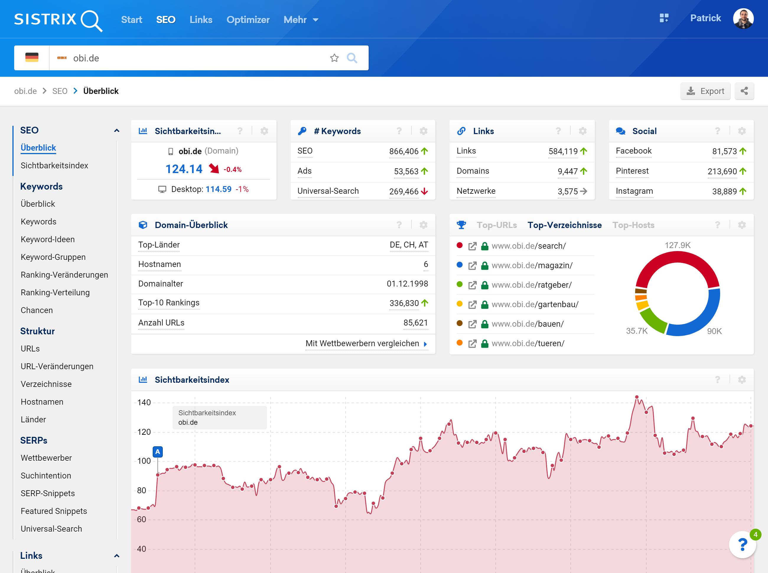 Domain-Überblick-Seite für die Domain obi.de mit dem Klickpfad zur Verzeichnis-Auswertung in der linken Navigation.