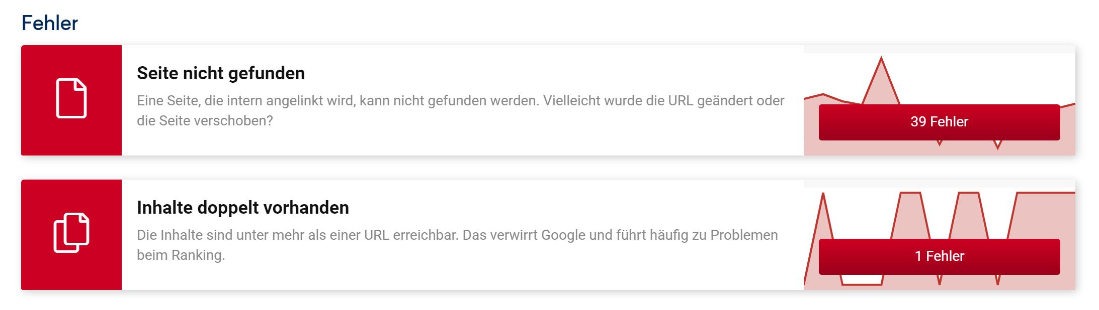 """Auszug aus der Fehler-Ansicht auf der Onpage-Überblick Seite im SISTRIX Optimizer. Es werden die Fehler """"Seite nicht gefunden"""" und """"Inhalte doppelt vorhanden"""" gezeigt."""