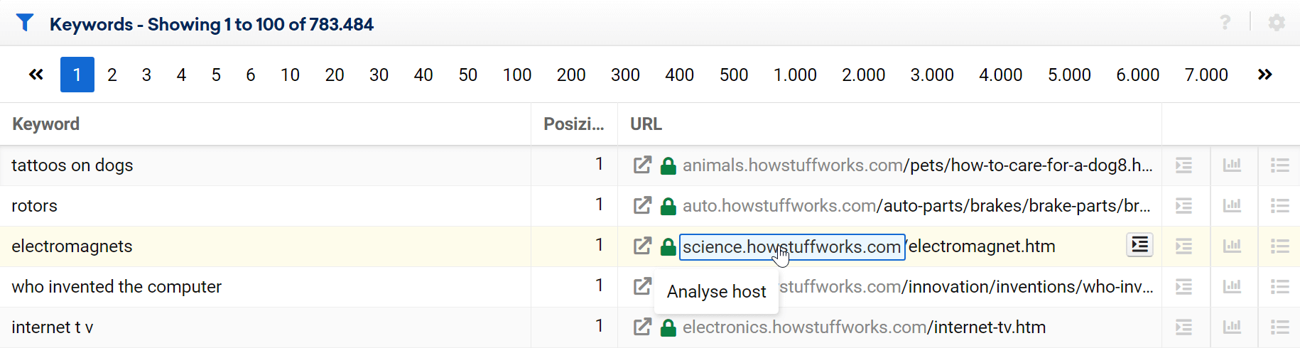 Auswahlmöglichkeit eines Hostnamens in einer Keyword-Tabelle. In diesem Beispiel wird nur der Host-Teil der URL angewählt.