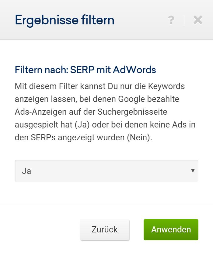 Auswahlbildschirm für den Filter nach SERPs mit Ads. In diesem Fall steht die Auswahl auf Ja.