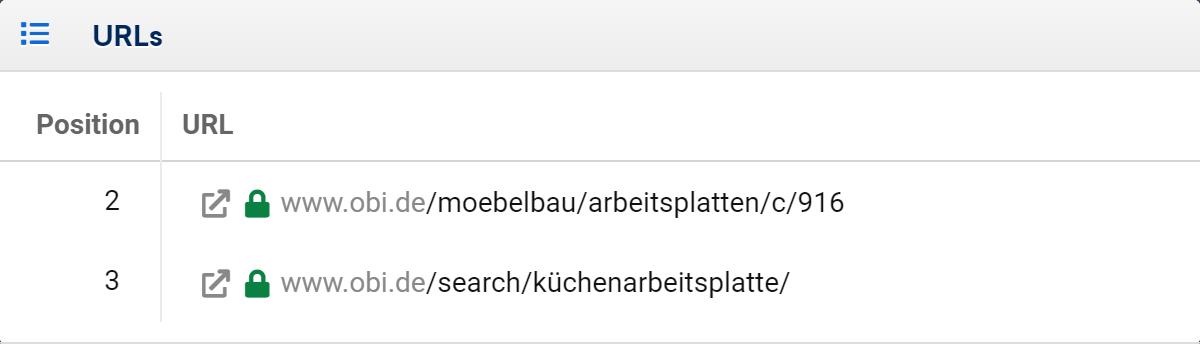 Anzeige der Mehrfachrankings bei obi.de für das Keyword Küchenarbeitsplatte. Es gibt ein Ranking auf Position 2 und 3.